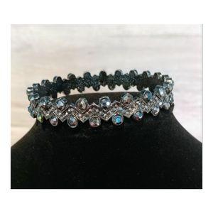 Women's Black/Silver Crystal Bangle Bracelet